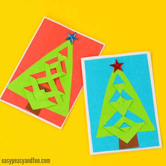 Make your own simple Christmas cards by following Andreja's tutorial from Easy Peasy and Fun. Please share. Join now for creative craft inspiration. The best in craft delivered to your inbox every Monday - CraftyLikeGranny.com #christmascrafts #christmas #crafts #diy