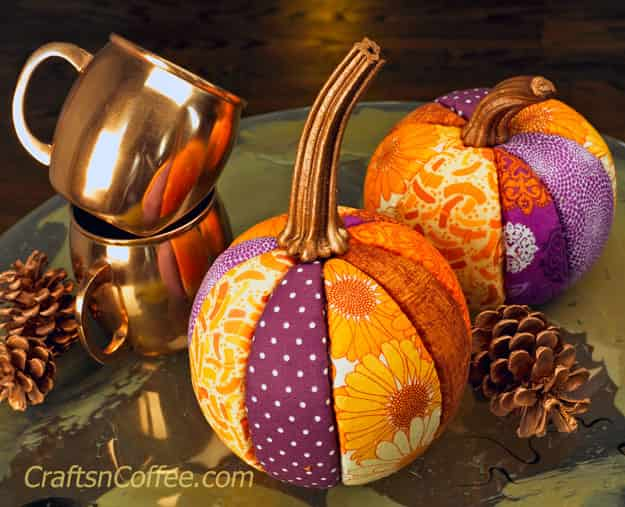 no-sew-fabric-pumpkins by Sharon at Crafts and Coffee. Fun to make and they look stunning. Please share. Sign up to our craft inspiration roundup newsletter and make Mondays more manageable. Fabulous Crafty ideas and projects delivered to your inbox - CraftyLikeGranny.com