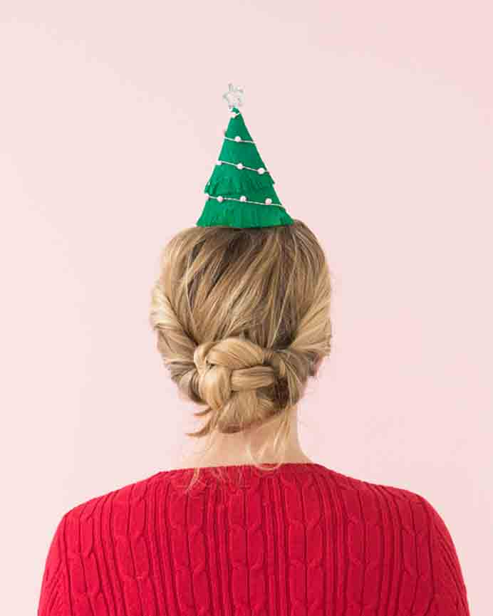 Bring some fun and cheer to your Christmas parties/gatherings and get guests to wear these Christmas Tree hats! Allison at Oh Happy Day shows you how to create them. Please share. Make Mondays more manageable and sign up for our craft inspiration newsletter. Delivered to your inbox - CraftyLikeGranny.com #partyhats