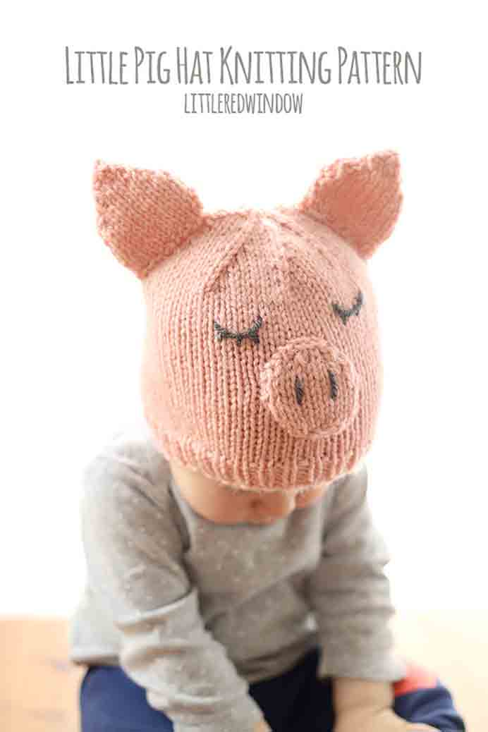 LIttle Pig Hat Pattern Little Red Window. A Little Piggy Knitted Hat for a 6 month old. Cassie from Little Red Window has designed this adorable baby hat. Check out her free Little Piggy Hat pattern here. Please share. You will always look forward to Mondays, with our craft inspiration roundups -CraftyLikeGranny.com #knitting