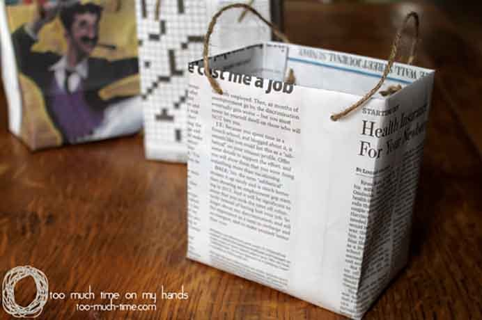Love this idea of using recycled newspaper and cereal boxes to make gift bags. Kim from Too Much Time On My Hands has an easy to follow tutorial on how to make them. Please share. The best in craft delivered to your inbox every Monday - CraftyLikeGranny.com #diy #giftbags