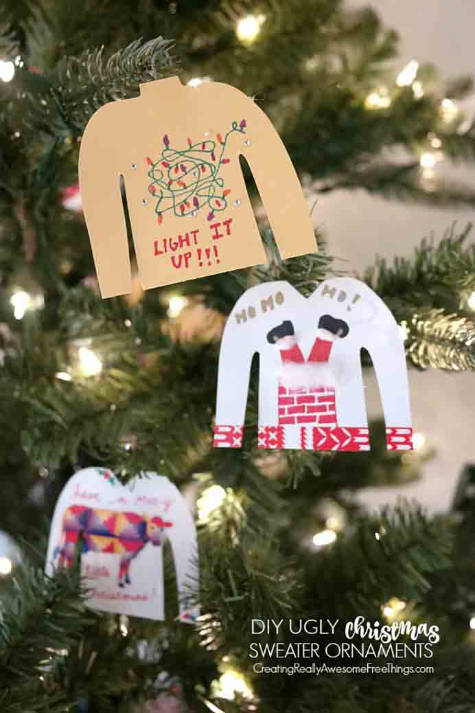 How funny are those ugly Christmas sweaters that you see sometimes being shared around the internet. C.R.A.F.T have created ornaments based on ugly Christmas sweaters and they are adorable. Take a look at their tutorial. Please share. The best in craft delivered to your inbox every Monday - CraftyLikeGranny.com #DIY #ChristmasOrnaments