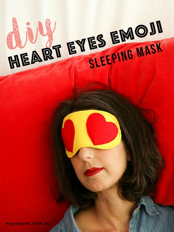 Heart Eyes. This idea for an eye mask fits in perfectly for Valentine's Day! Using the simple design of 2 emoji hearts. Take a look at Cinta's step by step guide.Please share and make Mondays fun, get our craft inspiration delivered to your inbox - CraftyLikeGranny.com #craft