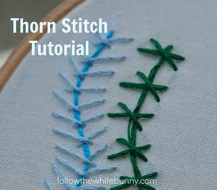 Thorn Stitch Embroidery Tutorial. Learn the Thorn Stitch from Nicole at Follow The White Bunny. Nicole steps you through how to do this embroidery stitch and all the possibilities. Please share. You will always look forward to Mondays, with our craft inspiration roundups -CraftyLikeGranny.com #Embroidery