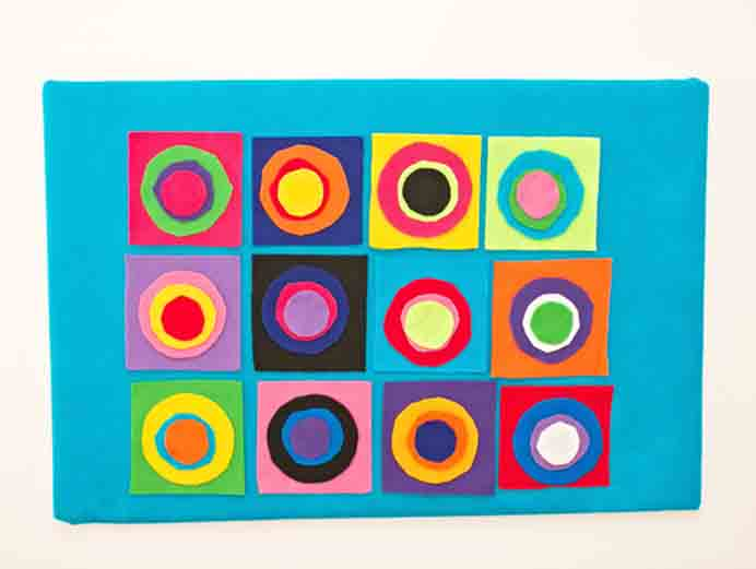 Kandinsky Circles Felt Board - Art Project For Kids by Hello Wonderful. Kids would thoroughly enjoy making this art project. Placed on their wall it's not only an art feature but fun to change up as well. Please share. Look forward to Mondays with our craft inspiration newsletter. Crafty goodness delivered to your inbox - CraftyLikeGranny.com #kidscraft