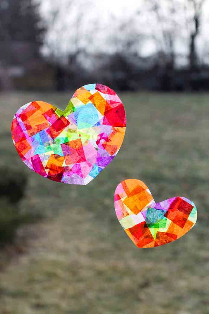 Rainbow Heart Suncatchers. Bring some bright cheeriness to your windows with these colorful suncatchers. Great for the kids to get involved with too! Follow Melissa from Fireflies and Mudpies tutorial. Please share. You will always look forward to Mondays, with our craft inspiration roundups -CraftyLikeGranny.com #kidscraft