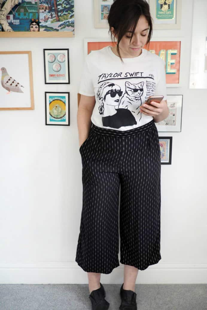 What Katie Sews Culottes. Culottes are the latest fad in fashion and Katie who Sews shares her journey of making a pair. Check out her latest creations. Please share and make Mondays fun, get our craft inspiration delivered to your inbox - CraftyLikeGranny.com #sewing
