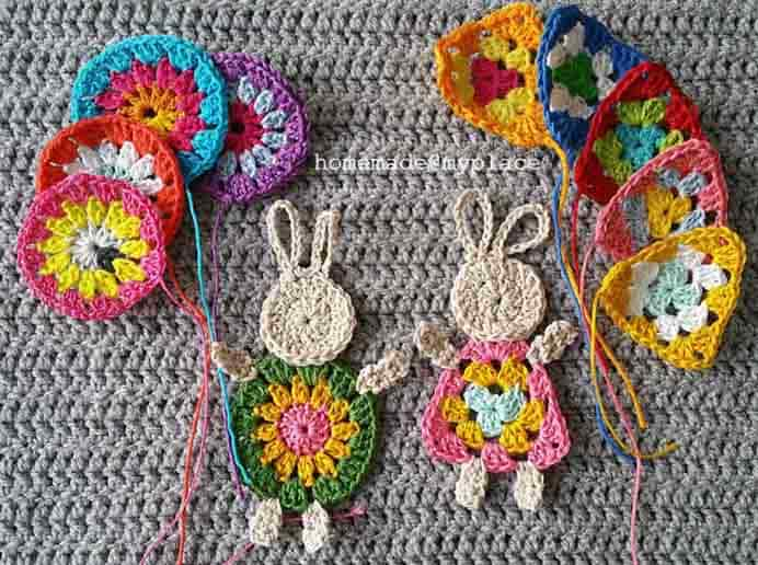 The Granny Bunny! Alessandra shares her fabulous crochet pattern for these adorable Granny Bunnies holding crocheted balloons. Check out her tutorial on how to make them.Please share. Join now for creative craft inspiration. The best in craft delivered to your inbox every Monday - CraftyLikeGranny.com #crochet