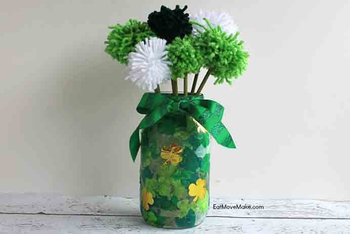 St Patrick's Day Pom Pom Vase. Another St Patrick's Day themed DIY craft project. Making pom poms is always fun and the tutorial on Eat Move Make is easy to follow. Please share. Make Mondays more manageable and sign up for our craft inspiration newsletter. Delivered to your inbox - CraftyLikeGranny.com #kidscraft #DIY #craft