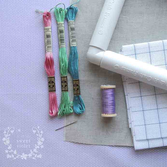 Cross Stitching On Linen. Jooles from Sew Sweet Violet has this clever tutorial for learning how to cross stitch on linen. It does look rather lovely :)Please share. You will always look forward to Mondays, with our craft inspiration roundups -CraftyLikeGranny.com #Crossstitch