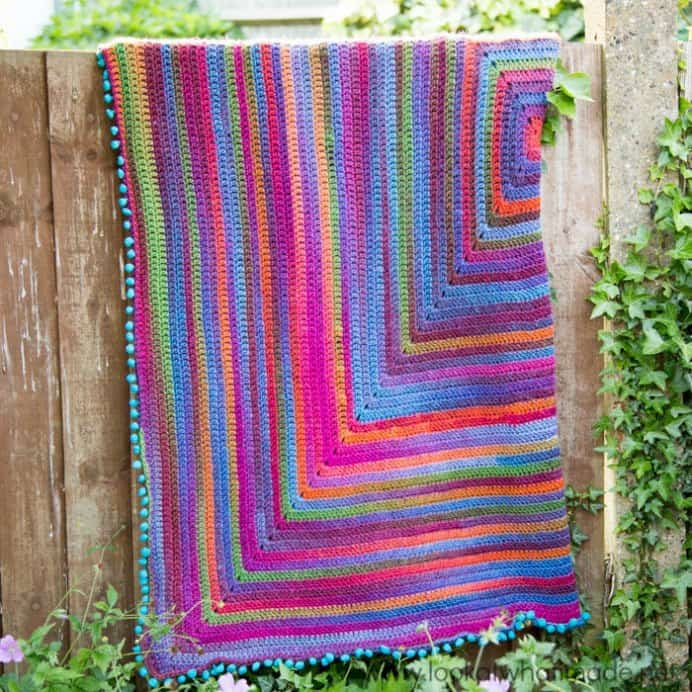 Joys-Journey-Continuous-Crochet-Square-Blanket. Dedri at Look at What I Made has a tutorial for a colorful blanket. A dedication to a friend of Dedri's mother who suffered from Dementia. Designed for people with Alzheimer's and Dementia, it is a beautiful blanket. Please share. Join now for creative craft inspiration. The best in craft delivered to your inbox every Monday - CraftyLikeGranny.com #crochet