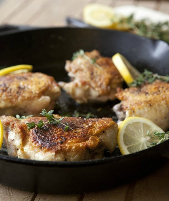 Lemon Thyme and Chicken Thighs. The team at Kitchn.com have an amazing selection of tasty recipes. This recipe for Lemon Thyme Chicken Thighs stood out, as it is easy to prepare. The combination of the lemon thyme and crispy, succulent chicken is delicious. Please share. Sign up to our craft inspiration roundup newsletter and make Mondays more manageable. Fabulous Crafty ideas and projects delivered to your inbox - CraftyLikeGranny.com #recipes #cooking