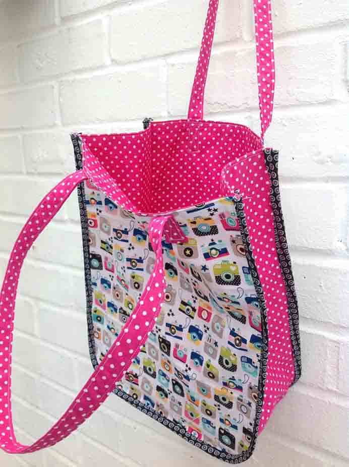 Sew A Tote Bag. This 'Instamatic' Tote bag is such a cute sewing project. Claire from My Monday Makes steps you through her tutorial on how to make one. Please share. Join now for creative craft inspiration. The best in craft delivered to your inbox every Monday - CraftyLikeGranny.com #sewng #totebag #sewingtips