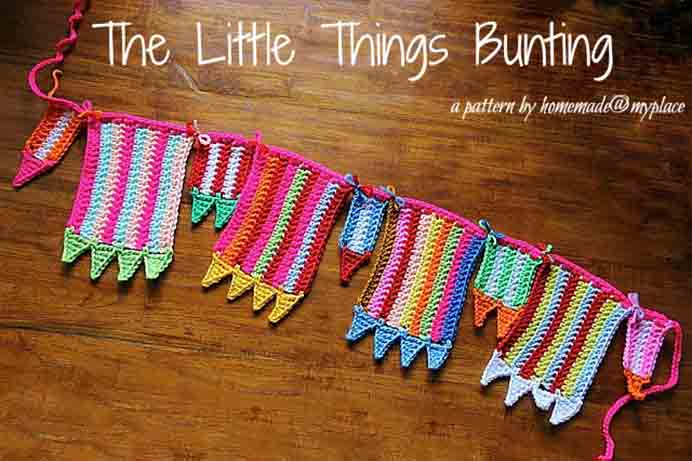 Crochet Colorful Bunting. Alessandra from Homemade at My Place shares her tutorial for colorful crocheted bunting. It looks fantastic and is simple to do. Please share and make Mondays fun, get our craft inspiration delivered to your inbox - CraftyLikeGranny.com  #crochet #crocheting #craft