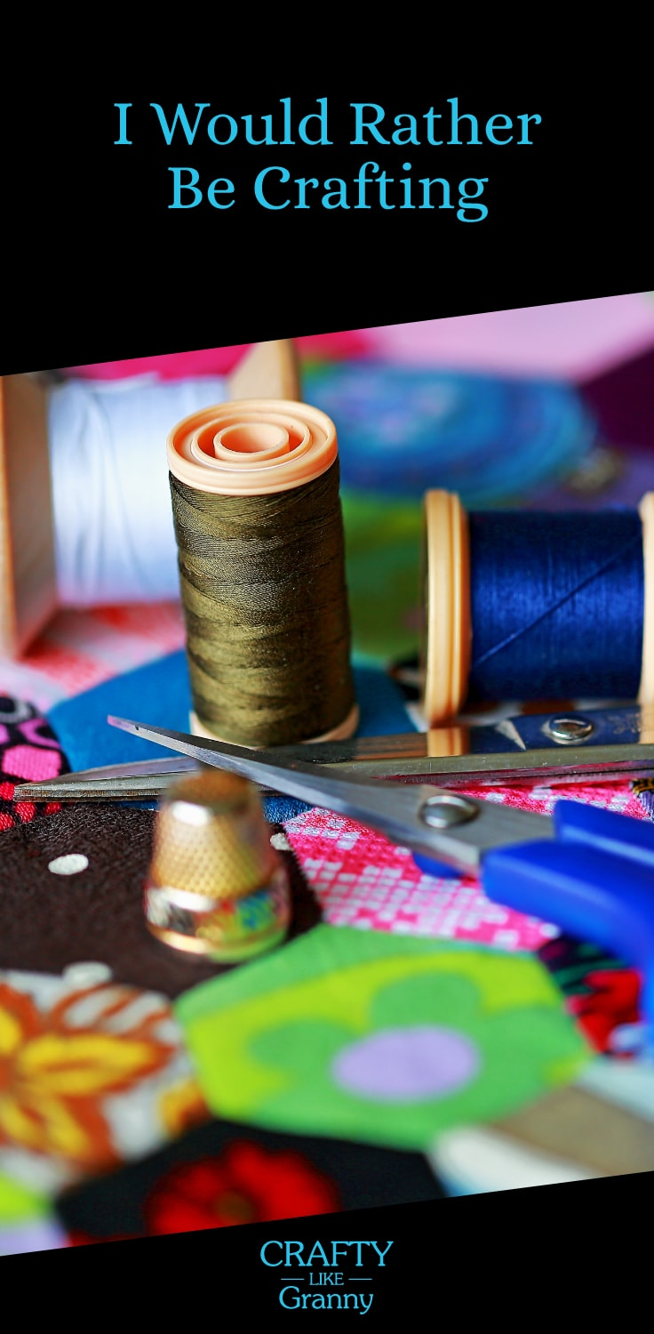 "Have you ever been doing a task and thinking ""I would rather be crafting""? I am sure there are many times that this thought has come into your mind. Particularly when doing something unrelated to craft, that you are not particularly enjoying :) We share some excellent tutorials for fabulous crafting inspiration. Here, here to dreaming about craft! Please share and make Mondays fun, get our craft inspiration delivered to your inbox - CraftyLikeGranny.com #craft"
