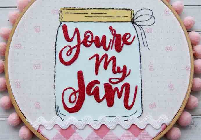 You Are My Jam Embroidery Hoop Art Tutorial. What a gorgeous design, something that would look great on a kitchen wall!. Follow Bev at Flamingo Toes tutorial to embroider one yourself. Please share. Make Mondays more manageable and sign up for our craft inspiration newsletter. Delivered to your inbox - CraftyLikeGranny.com #Embroidery #embroideryart