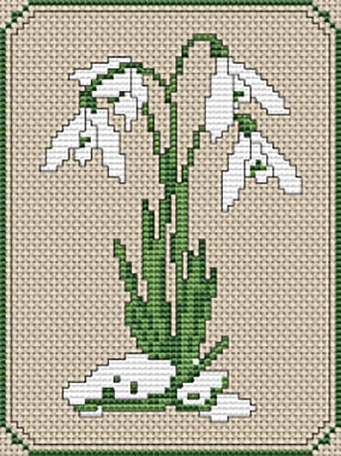 Snowdrops Cross Stitch Pattern. Following in Anna's inspiration from nature and Snowdrops, this is a lovely  Snowdrops Cross Stitch pattern. Alita at Alita Designs shares her free pattern. Please share. The best in craft delivered to your inbox every Monday - CraftyLikeGranny.com #crossstitch #stitching