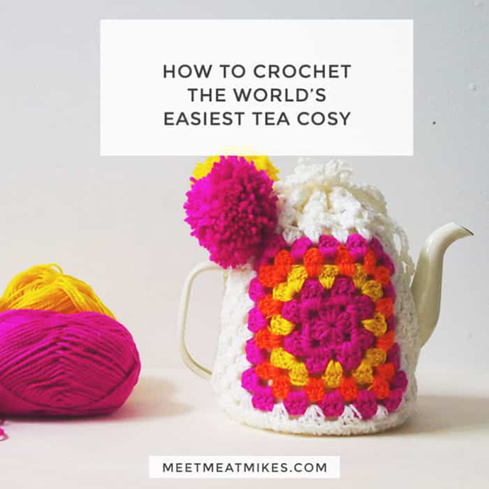 I love a good cup of tea and particularly from a teapot. This fun and colourful tea cosy by Pip at Meet Me At Mikes based on granny squares, looks easy to do. #Crochet #Crochetpatterns #GrannySquares