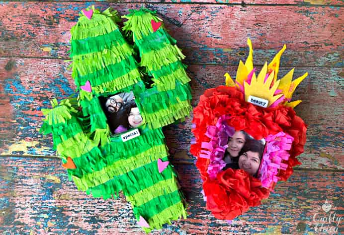 How To Make A Pinata Photo Frame. All the effort that goes into making Pinatas, this idea means the Pinata doesn't get smashed. Rather they are used as colorful decoration, still with treats inside. Use them as a centerpiece or to hang on the wall. See Kathy from Crafty Chica's video tutorial to learn how to make one. Please share and make Mondays fun, get our craft inspiration delivered to your inbox - CraftyLikeGranny.com #Craft #CraftForKids #CraftForTeens #DIY