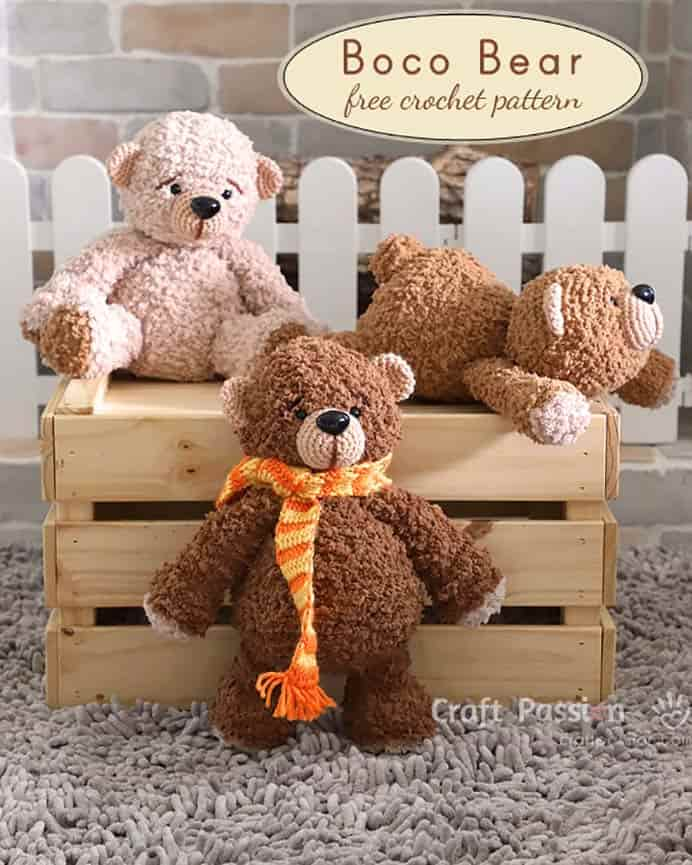 Joanne at Craft Passion has been perfecting her gorgeous Boco Bear Amigurumi pattern. Here she shares her tutorial and patterns to create these fabulous, cuddly bears. Please share and make Mondays fun, get our craft inspiration delivered to your inbox - CraftyLikeGranny.com #crochet #amigurumi #crochetpatterns #craft