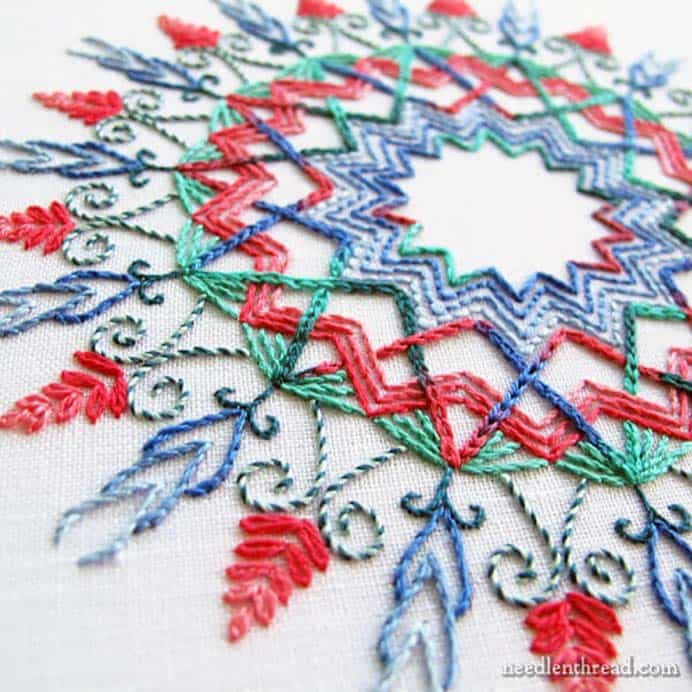 Kaleidoscope Hand Embroidery. This is a design to aspire to if you love hand embroidery. Mary Corbet shares her tutorial on how to create a Kaleidoscope design which is lovely. Please share. Join now for creative craft inspiration. The best in craft delivered to your inbox every Monday - CraftyLikeGranny.com #embroidery #stitching #craft