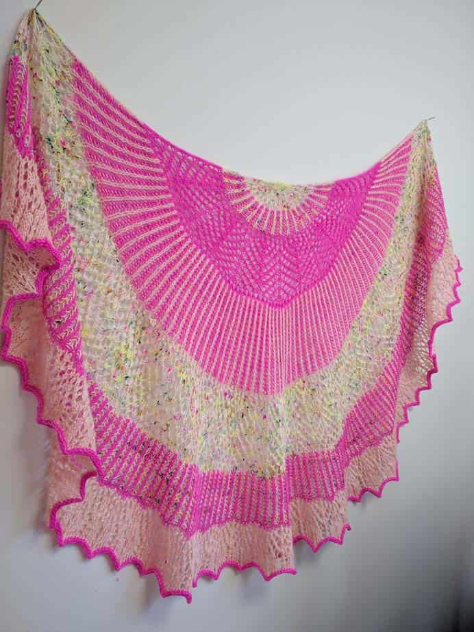 Half Moon Oracle. Courtney shares her story of creating this stunning Half Moon Oracle Shawl by Kristin Lehrer using Swift Yarns. As Courtney describes, the colors she's chosen make such a happy shawl. Please share. Join now for creative craft inspiration. The best in craft delivered to your inbox every Monday - CraftyLikeGranny.com #knittingpattern #knitting_inspiration #knitting