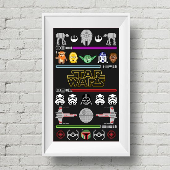 Stitching the Night Away has a great roundup of Star Wars Cross Stitch ideas. Please share. The best in craft delivered to your inbox every Monday - CraftyLikeGranny.com #stiching #crossstitch