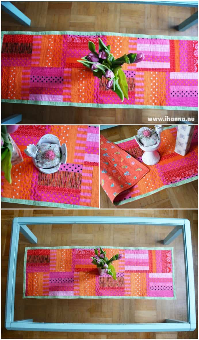 Such a fun and simple way to use up bits of colorful fabric in IHanna's Polka Dot Table Runner. The tutorial is easy to follow and would not take long to do :) Please share. Make Mondays more manageable and sign up for our craft inspiration newsletter. Delivered to your inbox - CraftyLikeGranny.com #sewing #sewingtips #craft