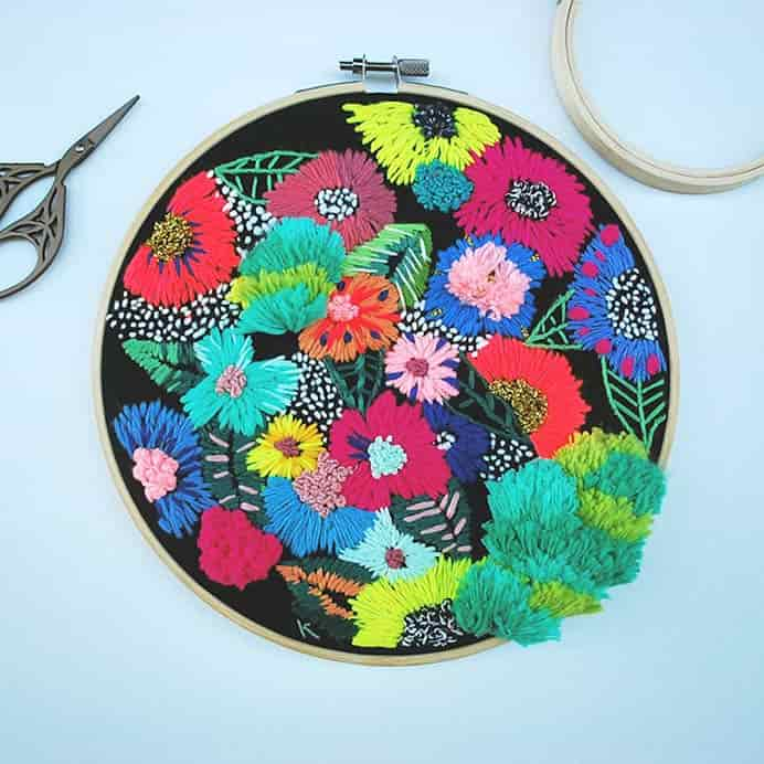 Tactile Hoop Art Inspired by the Colorful Beauty of Floating Gardens. Brown Paperbag features Katy Biele's amazing embroidery art. Katy's stunning designs are inspired by floating gardens. A real feast for the eyes. Please share. Join now for creative craft inspiration. The best in craft delivered to your inbox every Monday - CraftyLikeGranny.com #embroidery #stitching #embroideryart #embroiderydesigns