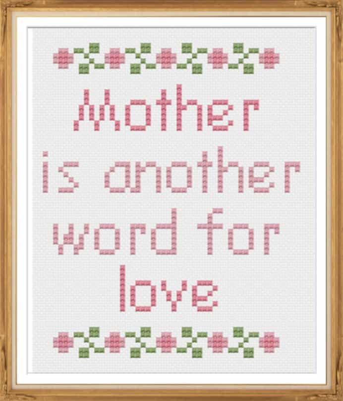 Simple free cross stitch pattern that looks easy to do by Cheryl at the Tiny Modernist. Mothers will be thrilled to receive this handmade gift :) The sentiment about Moms would be well received. Please share and make Mondays fun, get our craft inspiration delivered to your inbox - CraftyLikeGranny.com #crossstitch #stitching #craft