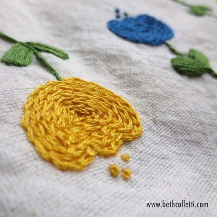 How To Use The Chain Stitch As A Fill Stitch. Follow Beth's video tutorial to first learn how to embroider the chain stitch if your new to this stitch. Then find out how you can use this stitch to fill in shapes. Please share. You will always look forward to Mondays, with our craft inspiration roundups -CraftyLikeGranny.com #stitching #embroidery #embroider