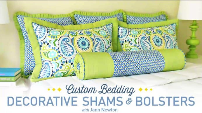 Looking to jazz up your bedroom this summer? Learn how to create the pillows above with Craftsy instructor Jann Newton. By the end of the self paced, online class, you too will have gorgeous pillows decorating your bed. Take a look at what you will learn here. Please share and make Mondays fun, get our craft inspiration delivered to your inbox - CraftyLikeGranny.com #sewing #sewingtips #sewingpattern #onlineclass