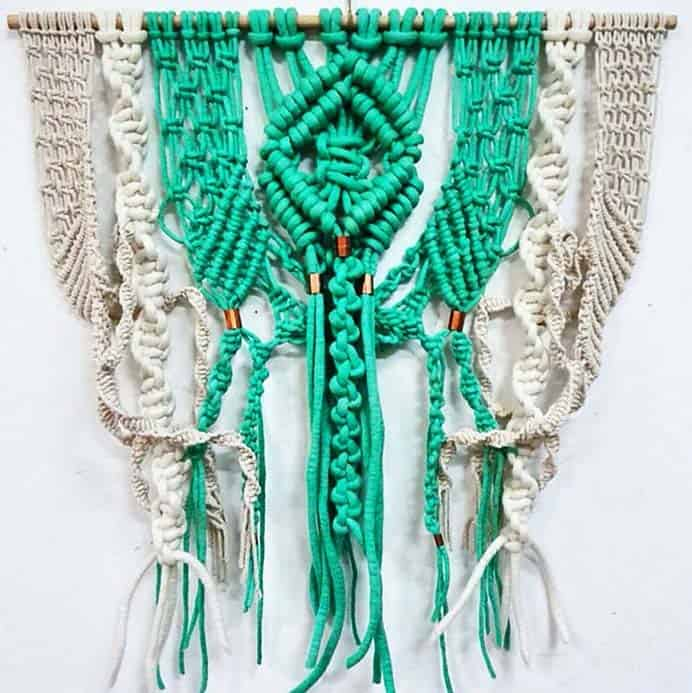 Modern Macrame - Natalie Miller and her world of color. A lovely insight into one artist's world of color and use of macrame. Read the full article and be amazed at the photos of her glorious designs on Modern Macrame. Please share. Look forward to Mondays with our craft inspiration newsletter. Crafty goodness delivered to your inbox - CraftyLikeGranny.com #macrame #wallhanging #weaving