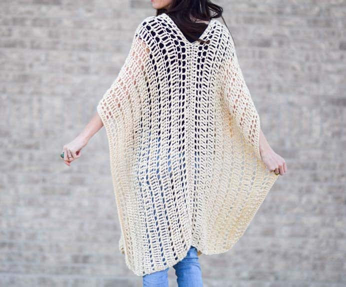 Jessica from Mama In A Stitch definitely believes that crocheting is not just for the cooler months. She was inspired to create a lovely lightweight and open stitch poncho. Her free Casablanca Poncho pattern is just lovely. Please share. You will always look forward to Mondays, with our craft inspiration roundups -CraftyLikeGranny.com #crochetpattern #crochet #crocheting