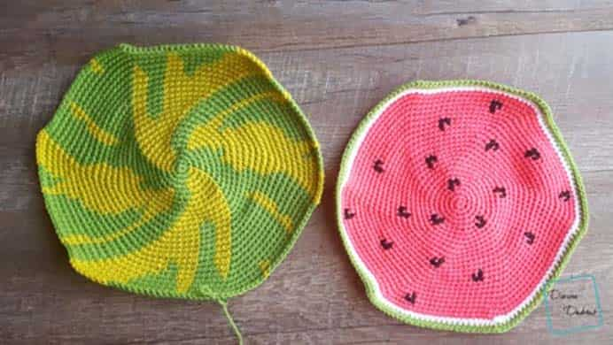 """Watermelon Pillow Free Crochet Pattern. How I love this crochet pillow design! It just says """"Summer"""" to me. Divine Debris have shared the crochet pattern to make this fun pillow. Please share. Look forward to Mondays with our craft inspiration newsletter. Crafty goodness delivered to your inbox - CraftyLikeGranny.com #crochet #crocheting #crochetpattern"""