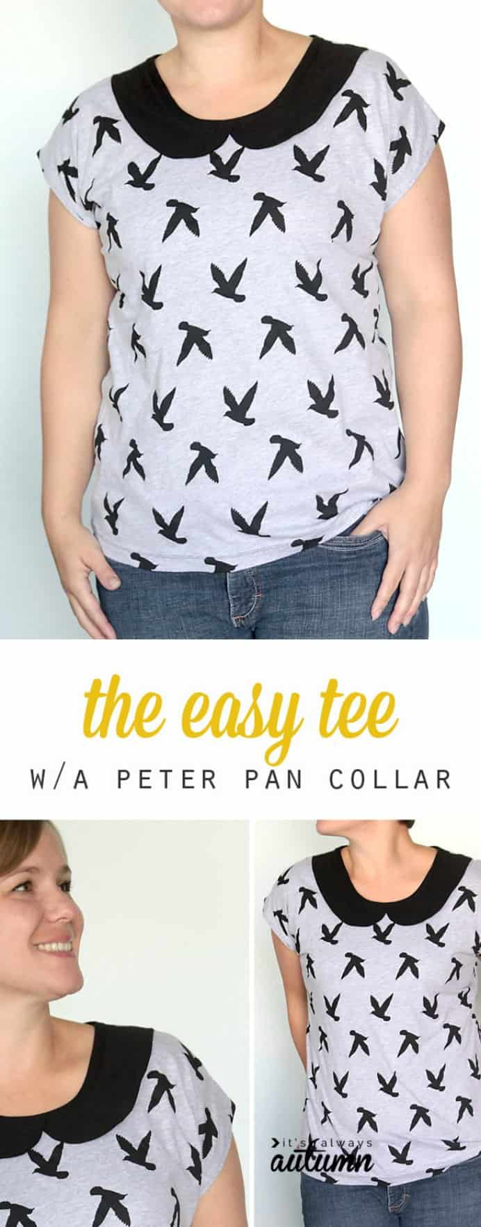 Autumn has a fantastic, easy to follow sewing tutorial for a gorgeous t-shirt with a Peter Pan collar. Perfect for the warmer months:) The step by step instructions with clear photos are so helpful. Please share. You will always look forward to Mondays, with our craft inspiration roundups -CraftyLikeGranny.com #sewing #sewingtips #sewingpattern