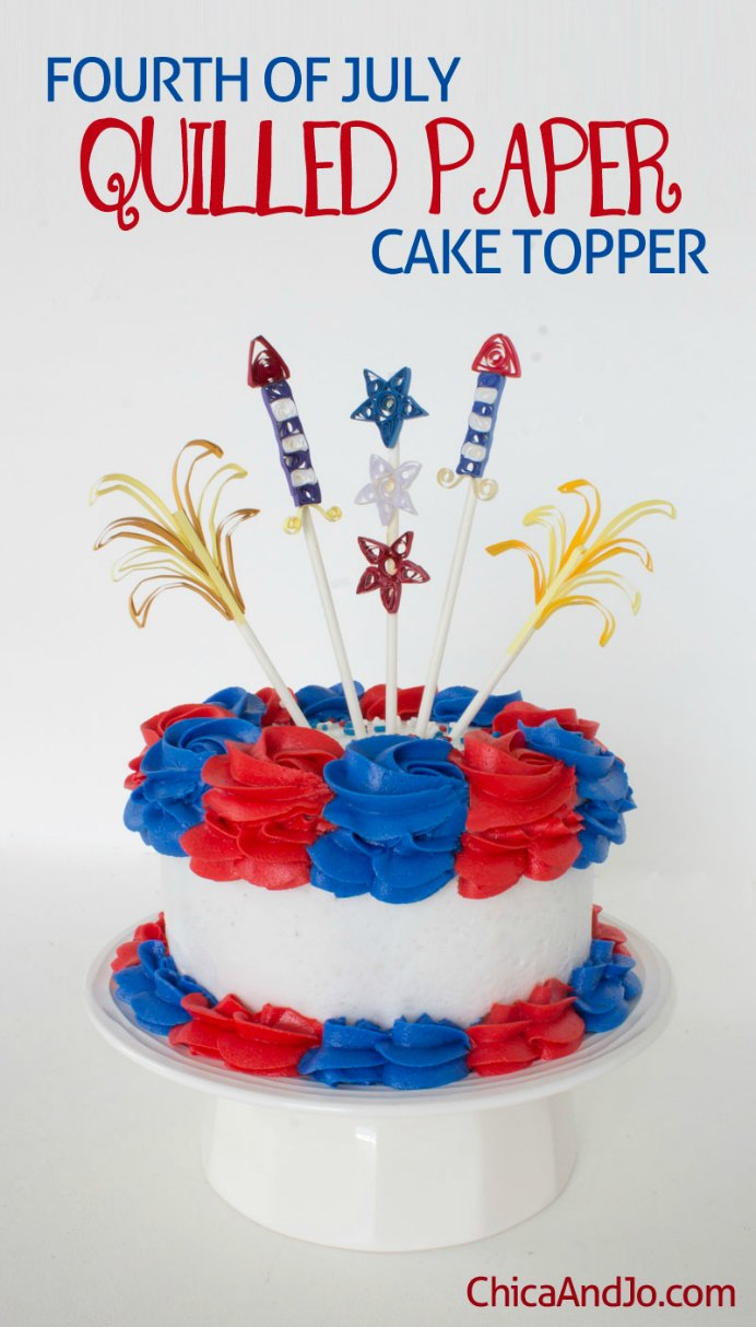 Paper quilling is simple to do and looks so effective. Chica and Jo have a detailed tutorial, for making Cake toppers for Fourth of July celebrations. Please share. Make Mondays more manageable and sign up for our craft inspiration newsletter. Delivered to your inbox - CraftyLikeGranny.com #papercraft #paperart #craft