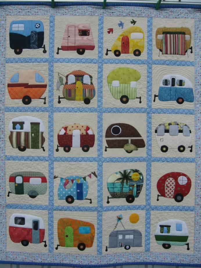 Have you ever spent a holiday in a caravan? This Retro Caravan Cot Quilt by A Little Craft is simply adorable. Love Retro Caravans! Please share. Look forward to Mondays with our craft inspiration newsletter. Crafty goodness delivered to your inbox - CraftyLikeGranny.com #quiltingblock #quilting #quiltpattern