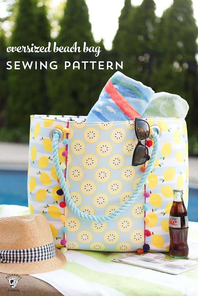 Oversized Beach Bag Sewing Pattern and Tutorial. Having a bag big enough for all your stuff and possibly other members of the family's stuff, is essential for a visit to the beach. Follow Melissa from Polka Dot Chair's sewing tutorial to make your own. Please share and make Mondays fun, get our craft inspiration delivered to your inbox - CraftyLikeGranny.com #sewing #sewingtips #sewingpattern