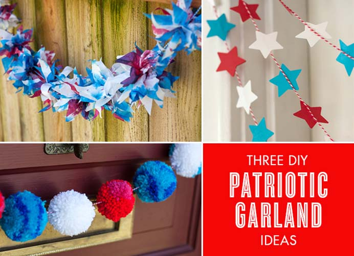 Three Patriotic Garland Ideas. Any of these quick and simple garland ideas could be used in decorating your home for Fourth Of July Celebrations. Follow Adventures in Making's tutorials. Please share. Sign up to our craft inspiration roundup newsletter and make Mondays more manageable. Fabulous Crafty ideas and projects delivered to your inbox - CraftyLikeGranny.com #4thofJuly #craft #DIY #homedecor