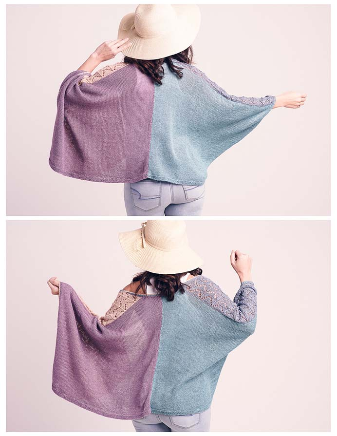 Inspired by a shawl seen on a cruise ship, Expression Fiber Arts have published this gorgeous knitted wrap sweater pattern. Available for $5.50 from their pattern store. Please share and make Mondays fun, get our craft inspiration delivered to your inbox - CraftyLikeGranny.com #knitting #knittingpattern #knitting_guru