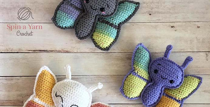 Butterfly Amigurumi Free Crochet Pattern. How adorable do these butterflies look? Jillian at Spin A Yarn Crochet shares her free pattern and tutorial, with helpful tips for you to make these cute critters. Please share. Make Mondays more manageable and sign up for our craft inspiration newsletter. Delivered to your inbox - CraftyLikeGranny.com #crochet #crocheting #crochetpattern #amigurumi