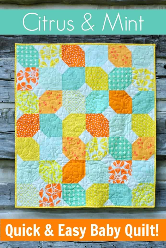 Craft Buds has a free pattern and tutorial for this cute baby quilt. The colors are lovely together :)Please share. Join now for creative craft inspiration. The best in craft delivered to your inbox every Monday - CraftyLikeGranny.com #sewing #sewingtips #sewingpattern