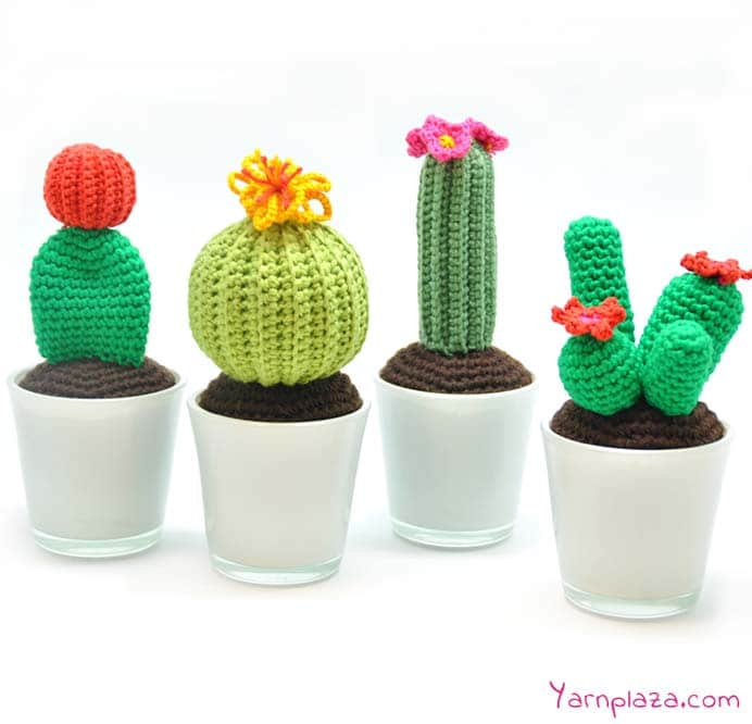 A delightful collection of crocheted cactus patterns. No need to worry about these beauties being prickly! The team at Yarn Plaza have created 4 different crochet cactus patterns and shared the instructions here. Please share and make Mondays fun, get our craft inspiration delivered to your inbox - CraftyLikeGranny.com #crochet #crocheting #crochetpattern