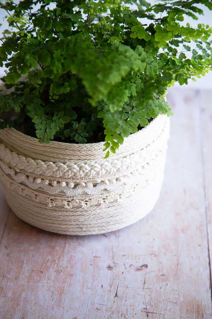 DIY Rope Planter Basket. Make your own rope planter basket with the help of Alice and Lois' step by step tutorial. These would make a wonderful addition to your indoor plant arrangements. Please share. The best in craft delivered to your inbox every Monday - CraftyLikeGranny.com #craft #craftideas #diy #homedecor