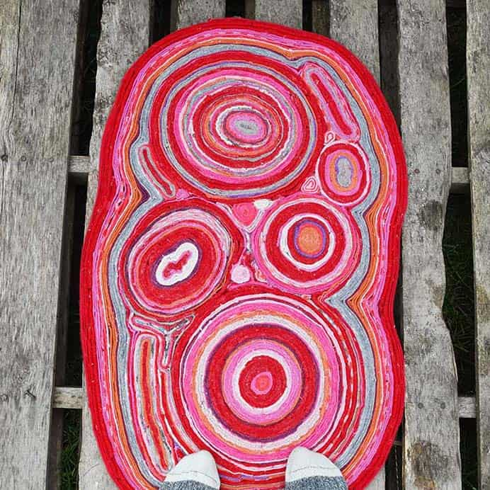 Felt Rug Made From Recycled Sweaters. I love that crafters out there offer ideas for recycling materials to make functional and practical projects. A rug made of recycled sweaters that are felted, is one such project. Follow Claire's tutorial on Pillar Box Blue for how to create one. Please share. Make Mondays more manageable and sign up for our craft inspiration newsletter. Delivered to your inbox - CraftyLikeGranny.com #Craft #DIY #Recycle #Upcycle