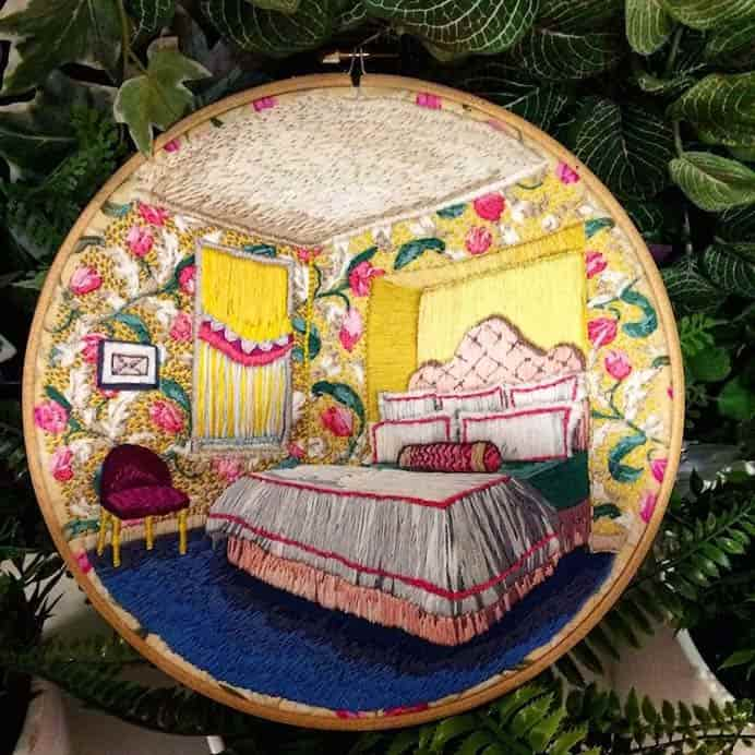 The embroidery designs by artist Eleana Moart featured in MyModern Met are stunning! The details are incredible. A feast for the eyes :) Please share. Join now for creative craft inspiration. The best in craft delivered to your inbox every Monday - CraftyLikeGranny.com #embroidery #stitching #needlework