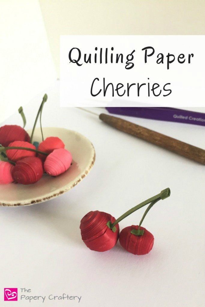 Meredith at The Papery Craftery finds inspiration in fruit and vegetables for her quilling designs. Learn how to quill these delightful paper cherries with her very thorough tutorial. Please share. Make Mondays more manageable and sign up for our craft inspiration newsletter. Delivered to your inbox - CraftyLikeGranny.com #papercraft #DIY #craft #quilling