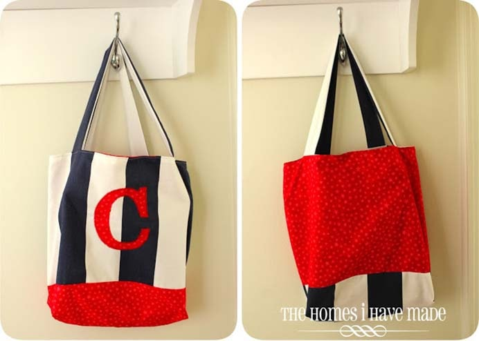 Stars and Stripes Reversible Monogram Tote Sewing Tutorial. Keeping with the patriotic theme, Megan from The Homes I Have Made shares her sewing tutorial. It's like having 2 bags in one! Please share. You will always look forward to Mondays, with our craft inspiration roundups -CraftyLikeGranny.com #sewing #sewingpattern #sewingtips