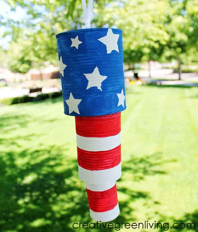 Fourth Of July Inspired Tin Can Wind Chimes. Using recycled tin cans is the main material used in Carrisa's Patriotic Wind Chime project. Follow her instructions to make your own, ready for the Fourth of July celebrations. Please share. You will always look forward to Mondays, with our craft inspiration roundups -CraftyLikeGranny.com #fourthofjuly #diy #craft #homedecor